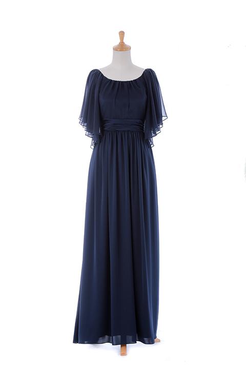 ネイビーフレアスリーブロングドレス
