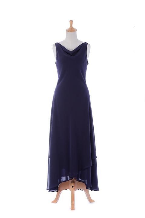 BLシフォンアシンメトリーロングドレス