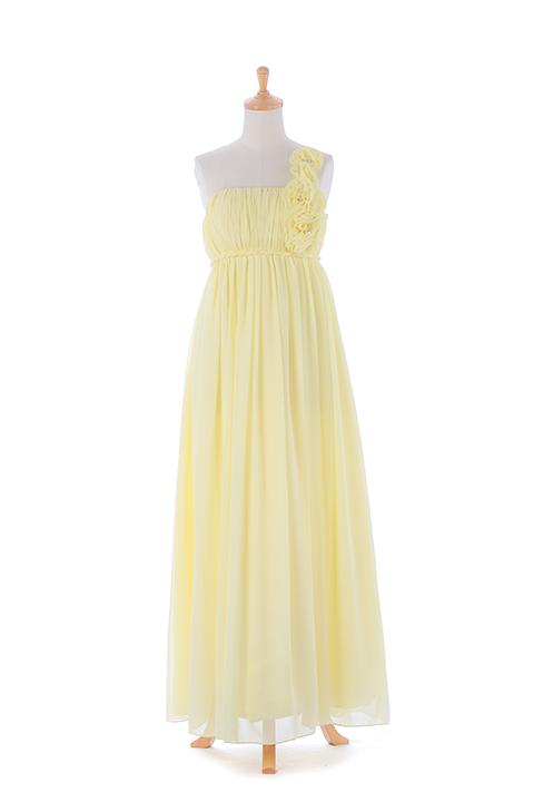 ライトイエローワンショルダーロングドレス