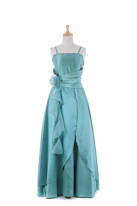 グリーンコサージュロングドレス