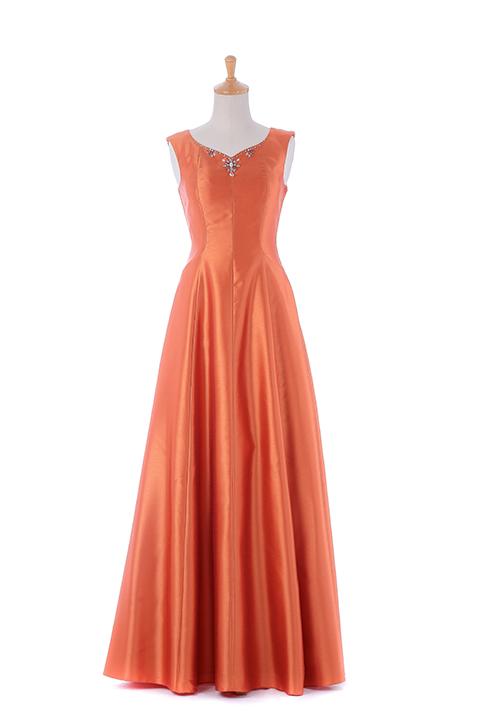 オレンジフラワービジュードレス