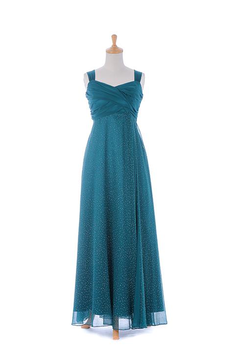 グリーンシフォンロングドレス
