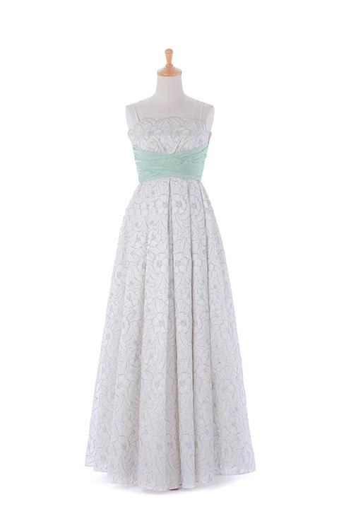 WH花刺繍入りサッシュベルトドレス
