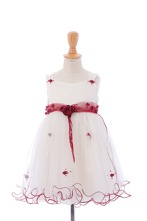 白チュールフラワーリボンドレス