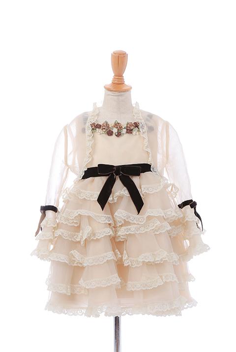 べージーボレロ付フリルスカートドレス