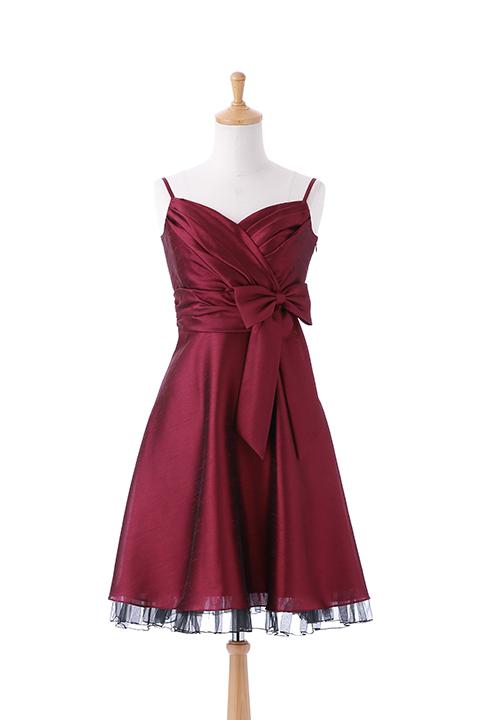 シャンタンハートラインウエストリボンドレス