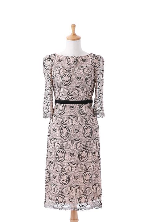 七分袖BLバラレースドレス