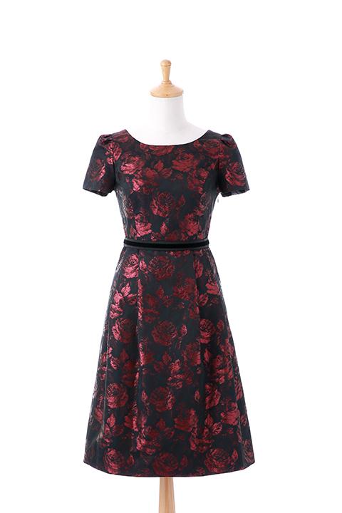 総バラ柄フレンチスリーブドレス