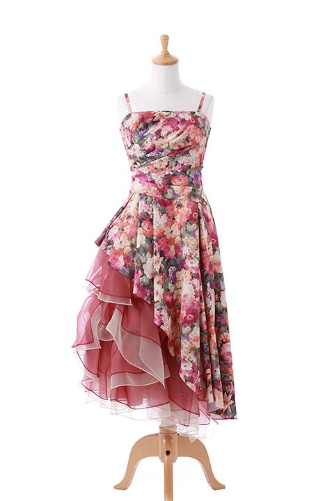 花柄サイドティアードロングドレス