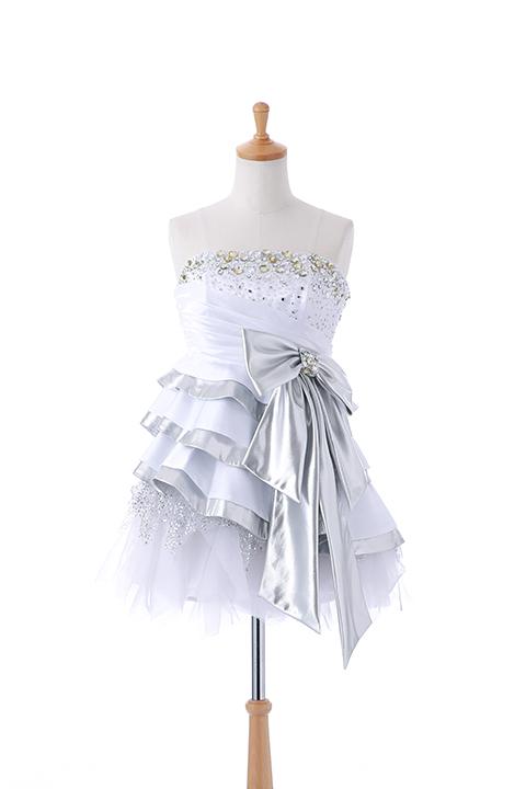 胸元ビジューミニドレス Wシルバーリボン