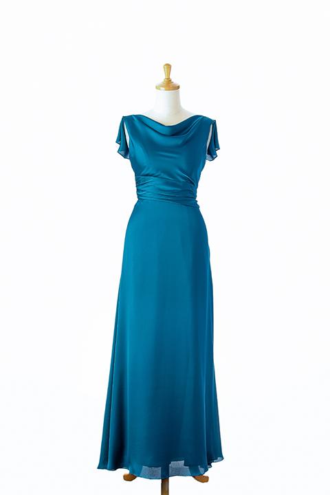 バックフリルロングドレス