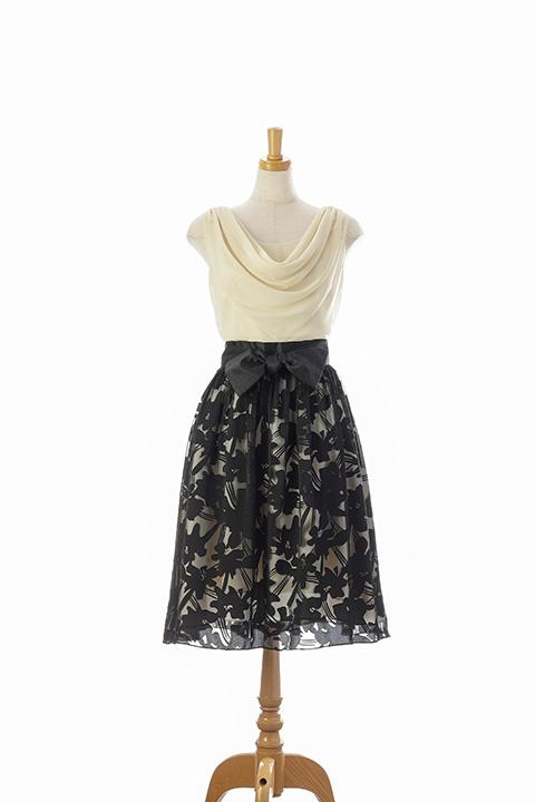 胸元ドレープブラック花柄スカート W/パニエ
